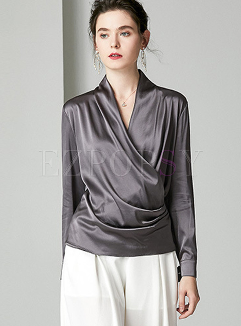 V-neck Long Sleeve Pleated Pullover Silk Blouse