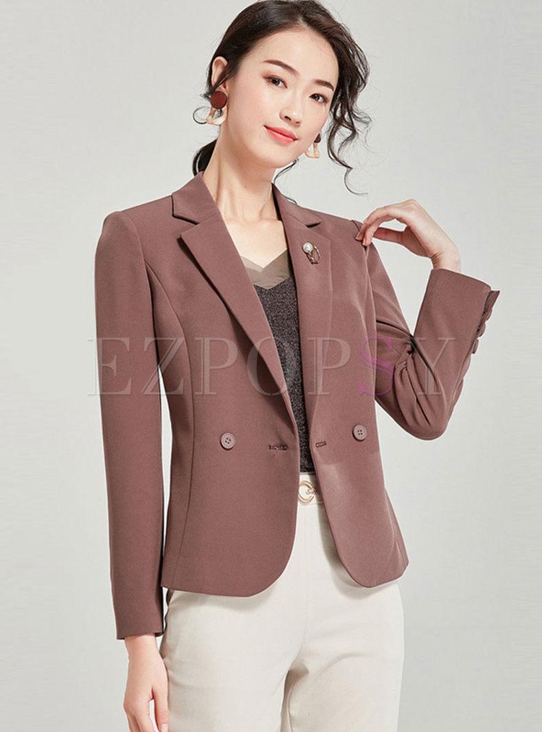 Solid Color Long Sleeve Slim Blazer