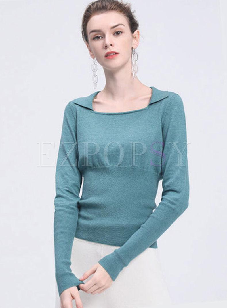 Square Neck Slim Pullover Sweater