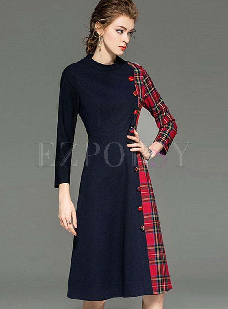 Long Sleeve Plaid Patchwork Skater Dress