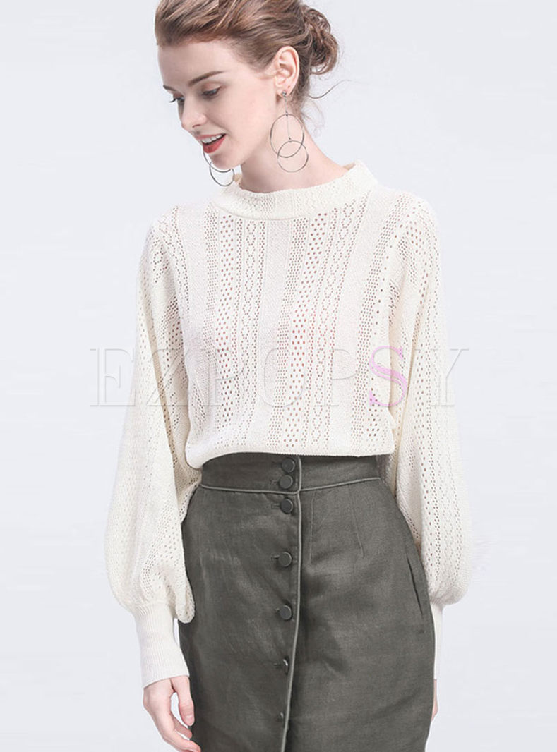 Fashion Openwork Pullover Loose Sweater