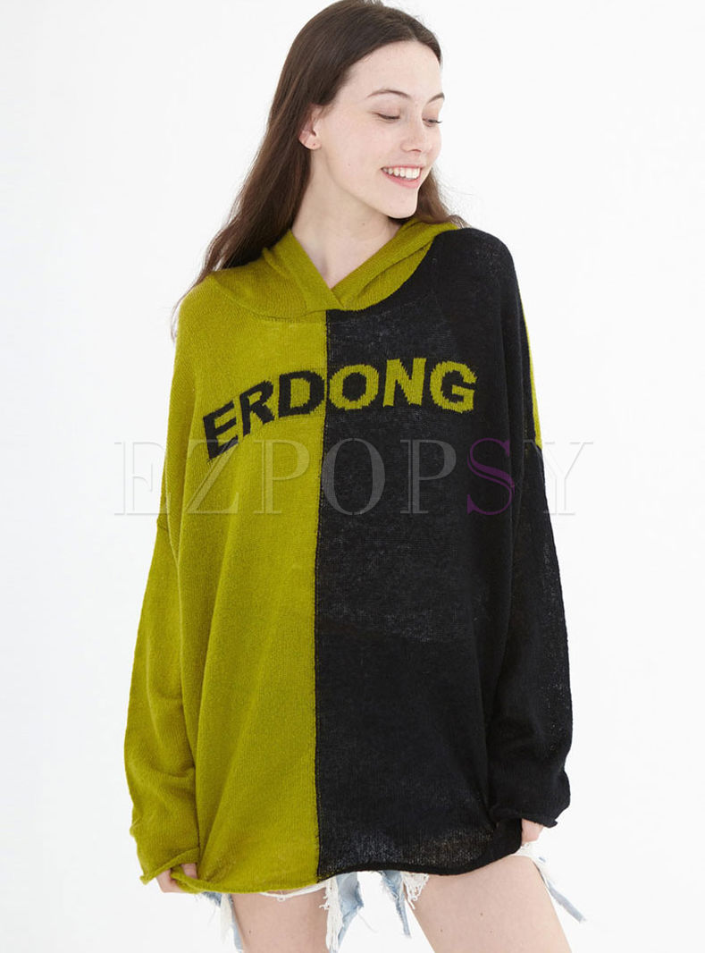 Hooded Long Sleeve Letter Print Sweater