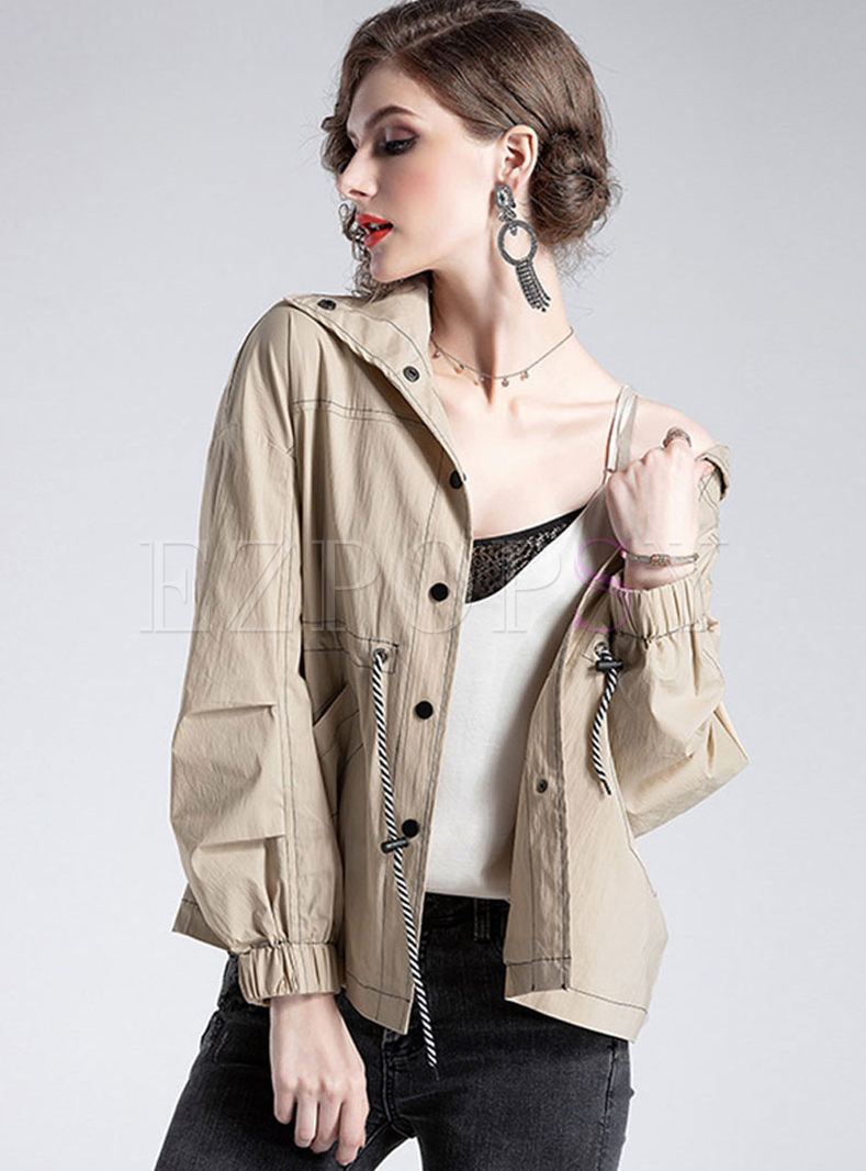 Lapel Single-breasted Drawcord Loose Coat