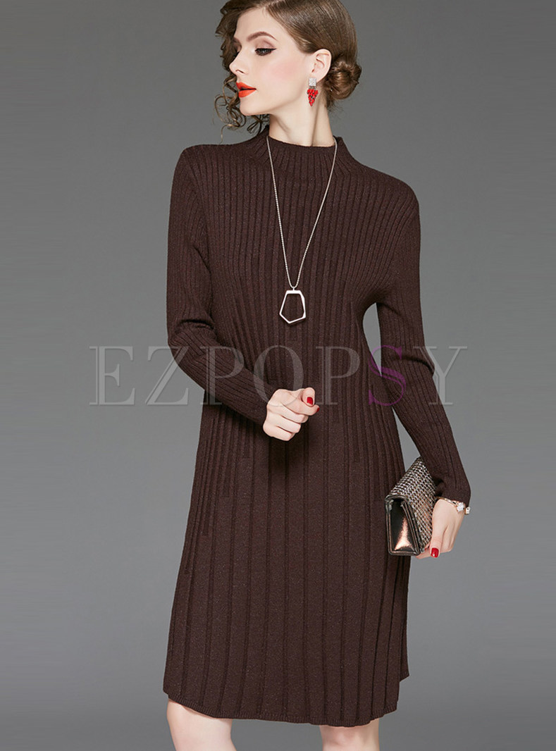 Solid Color Stand Collar Long Sleeve Slim Knit Dress