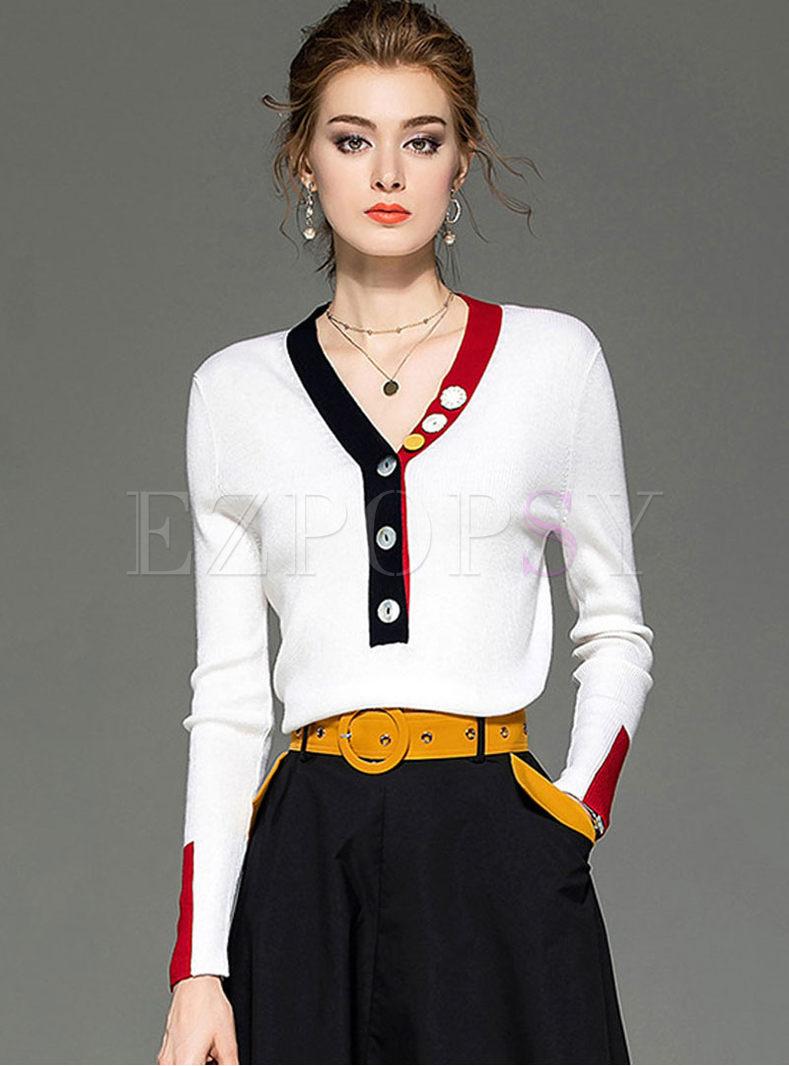 Color-blocked V-neck Long Sleeve Sweater