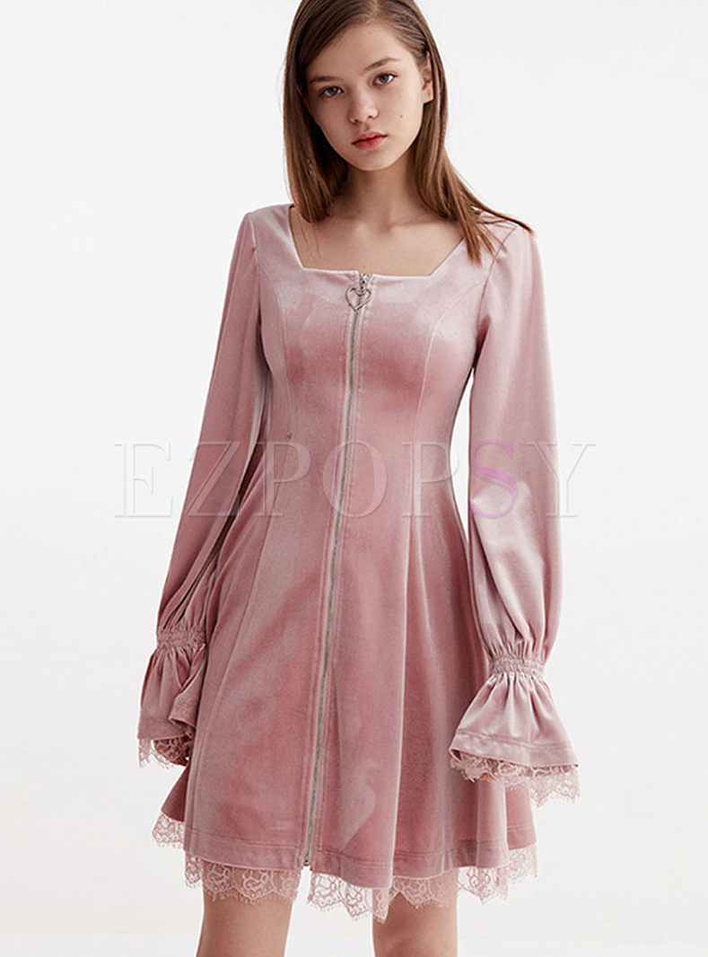 Pink Square Neck Long Sleeve Mini Dress