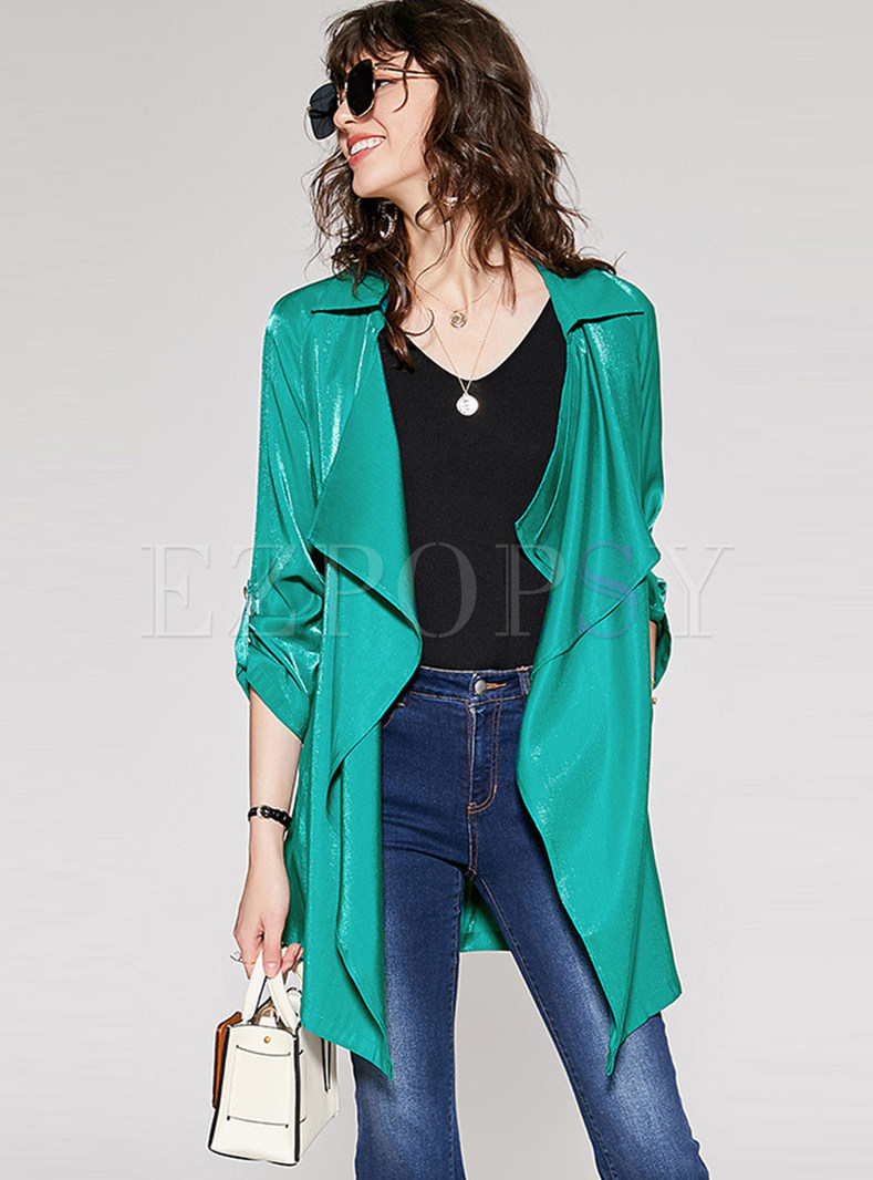 Casual Green Lapel Irregular Bodycon Trench Coat