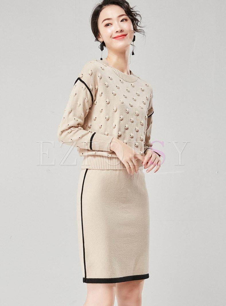 O-neck Patchwork Knit Top & Slim Knit Skirt