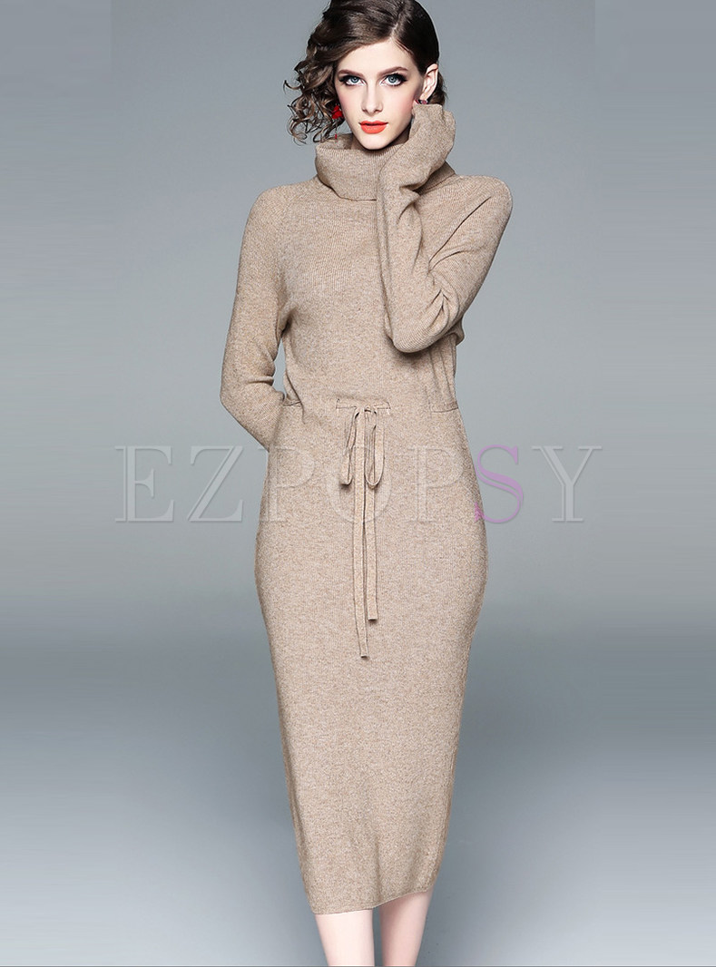 Casual High Collar Knit Top & Bodycon Knit Skirt