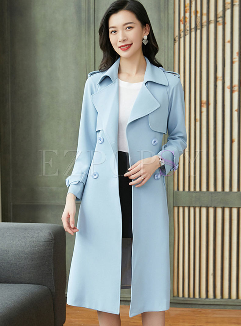 Light Blue Lapel Waist Long Trench Coat
