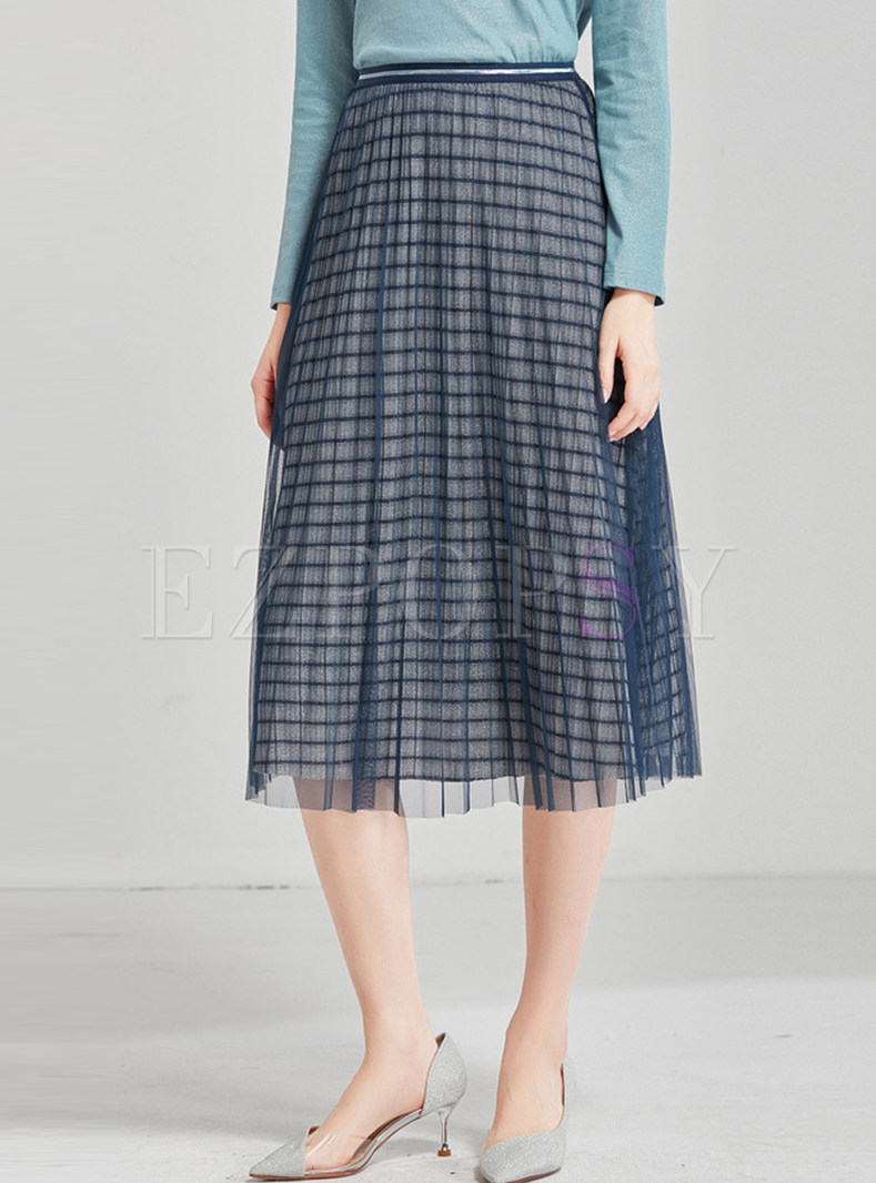 Elastic Waist Mesh Striped Skirt