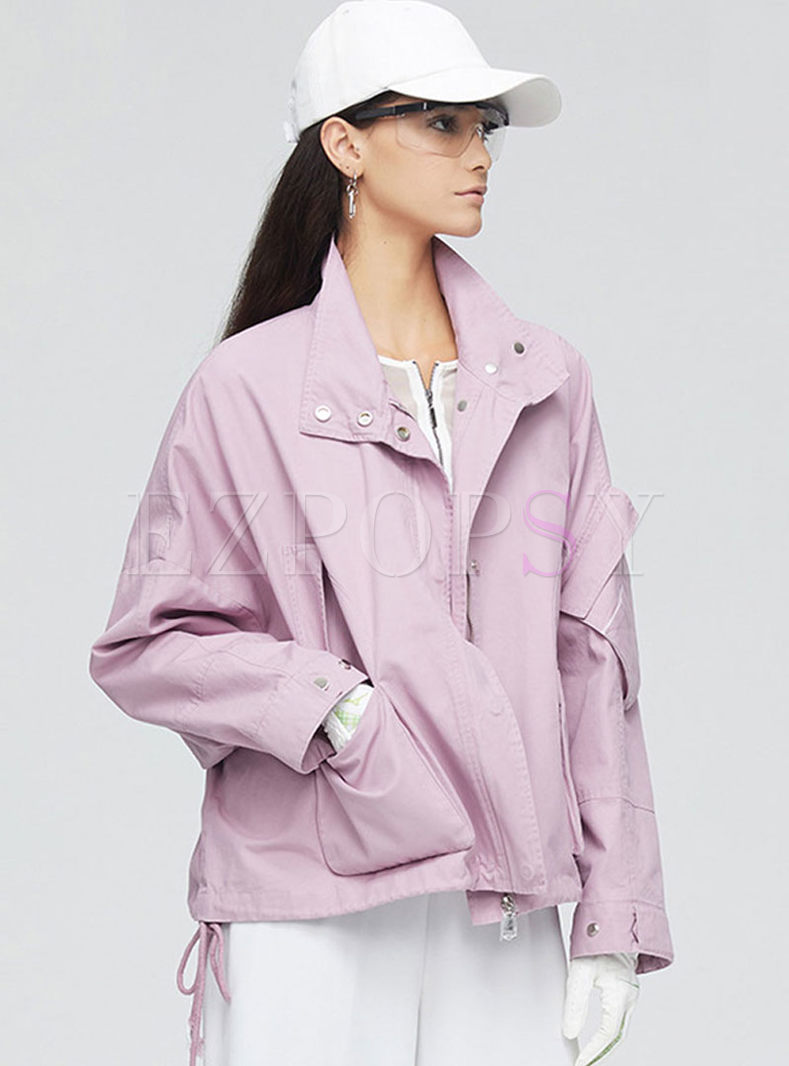 Pink Lapel Long Sleeve Loose Jacket