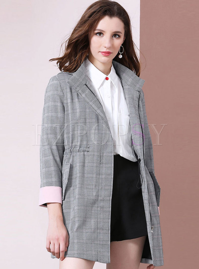 Lapel Plaid Hooded Drawcord Trench Coat