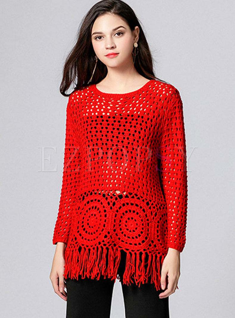 Red O-neck Openwork Tassel Sweater