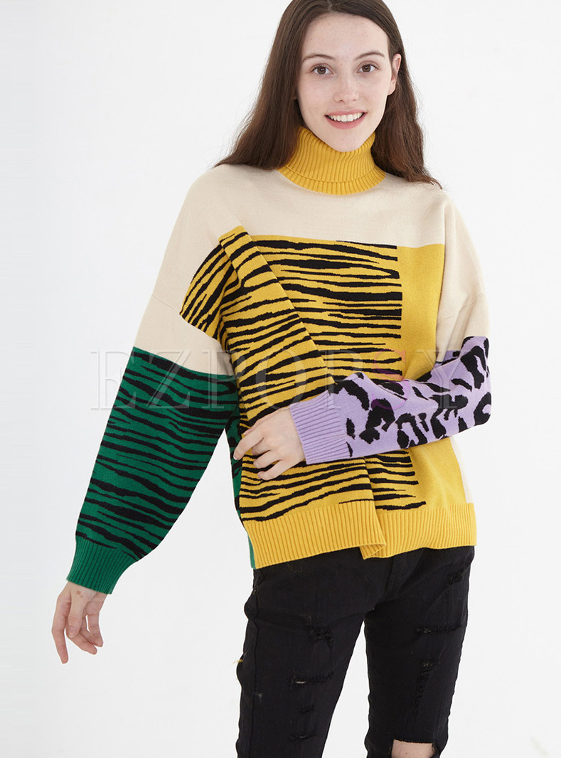 High Collar Color-blocked Long Pullover Sweater
