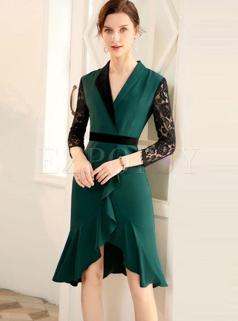 Color-blocked Lapel Lace Mermaid Dress