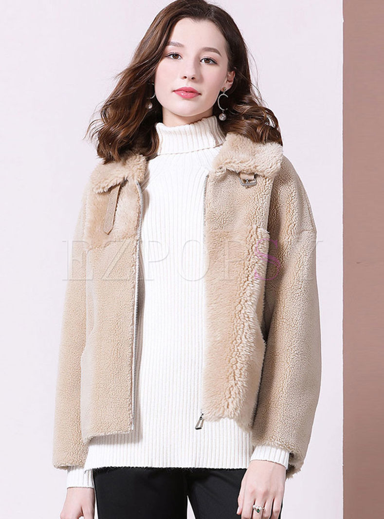 Turn Down Collar Loose Teddy Coat