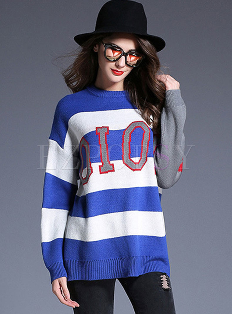 Long Sleeve Striped Letter Print Sweater