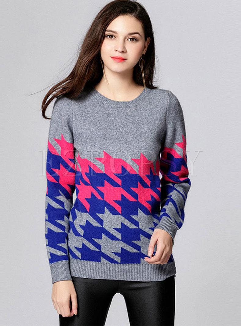 O-neck Geometric Print Pullover Sweater