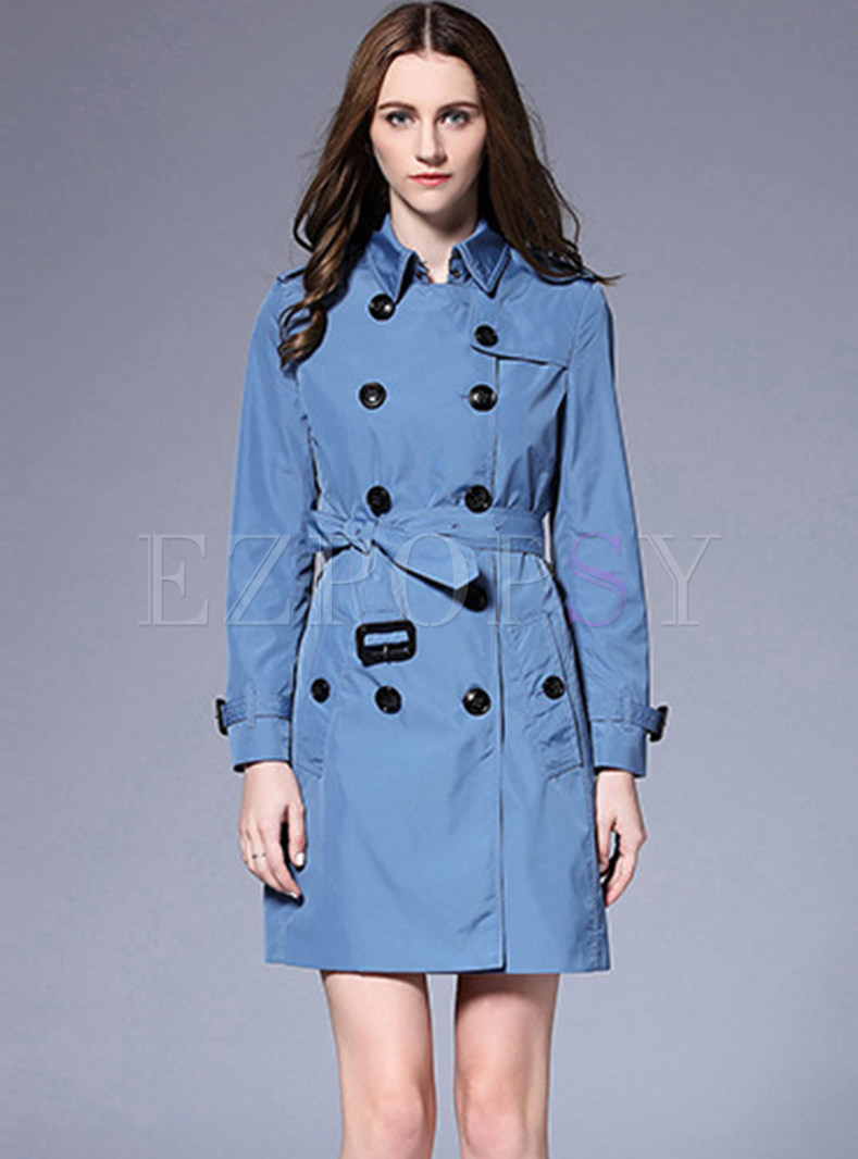 Blue Double-breasted Slim Trench Coat