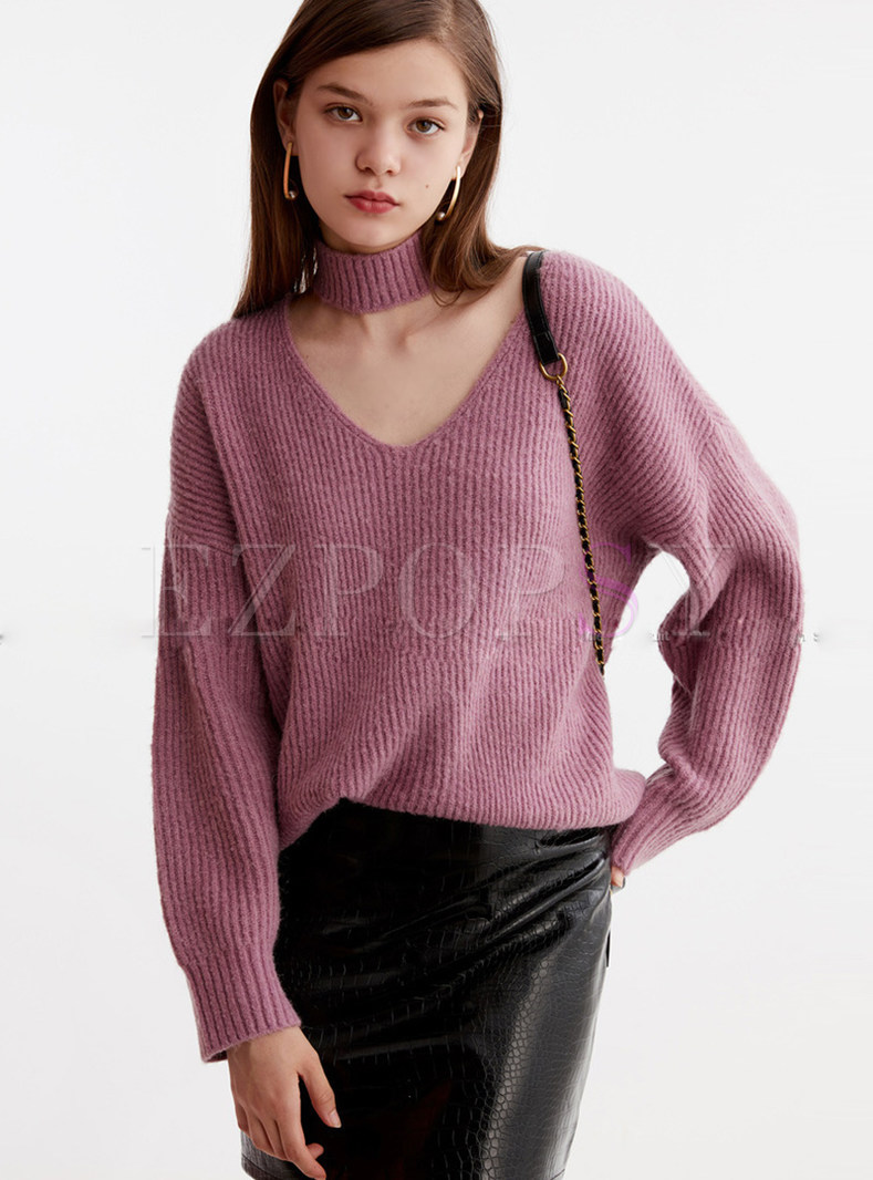 Solid Color Halter Neck Loose Pullover Sweater