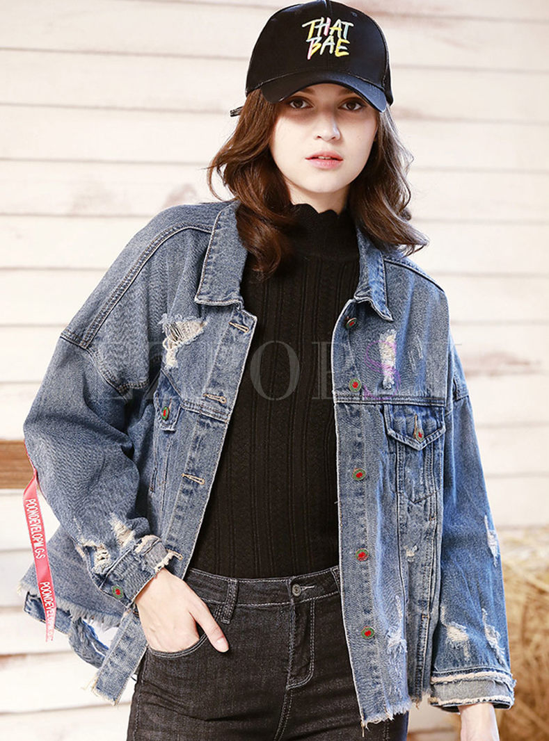 Stylish Lapel Hole Sequin Denim Jacket