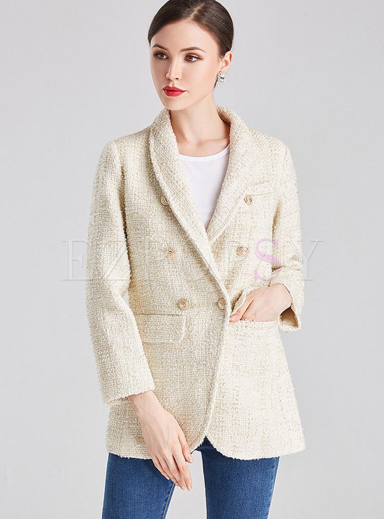 Double Breasted Slim Tweed Suit Coat