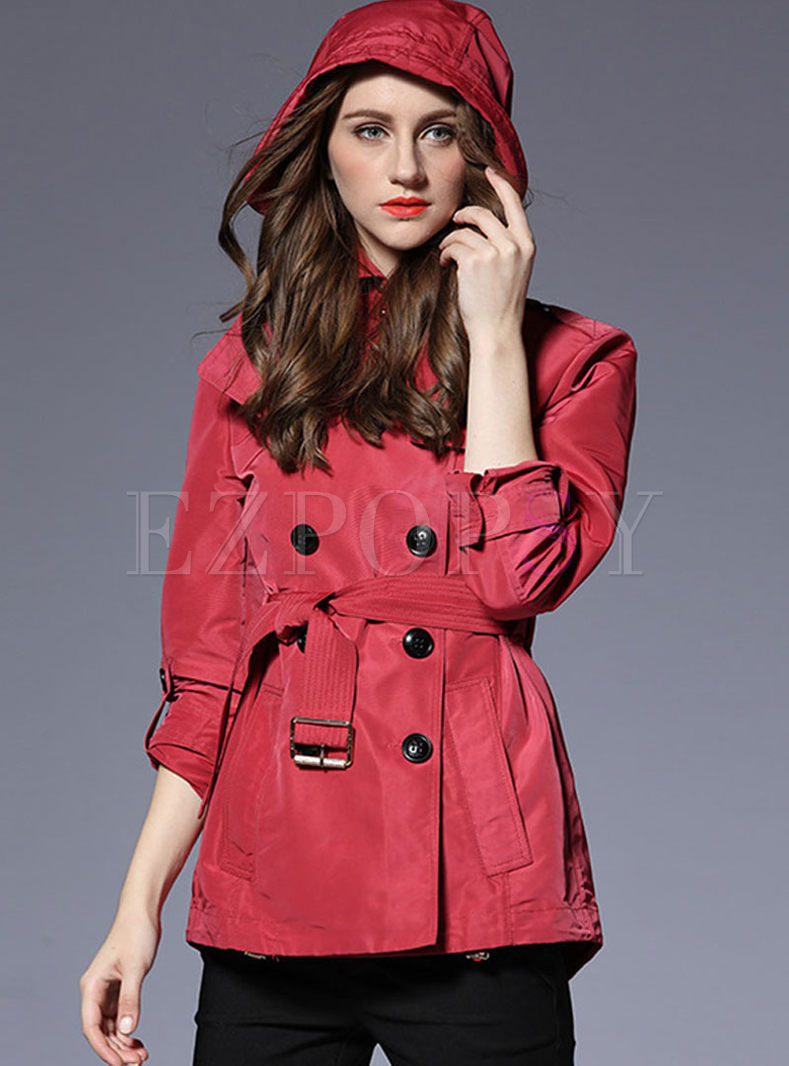Solid Color Turn Down Collar Short Trench Coat