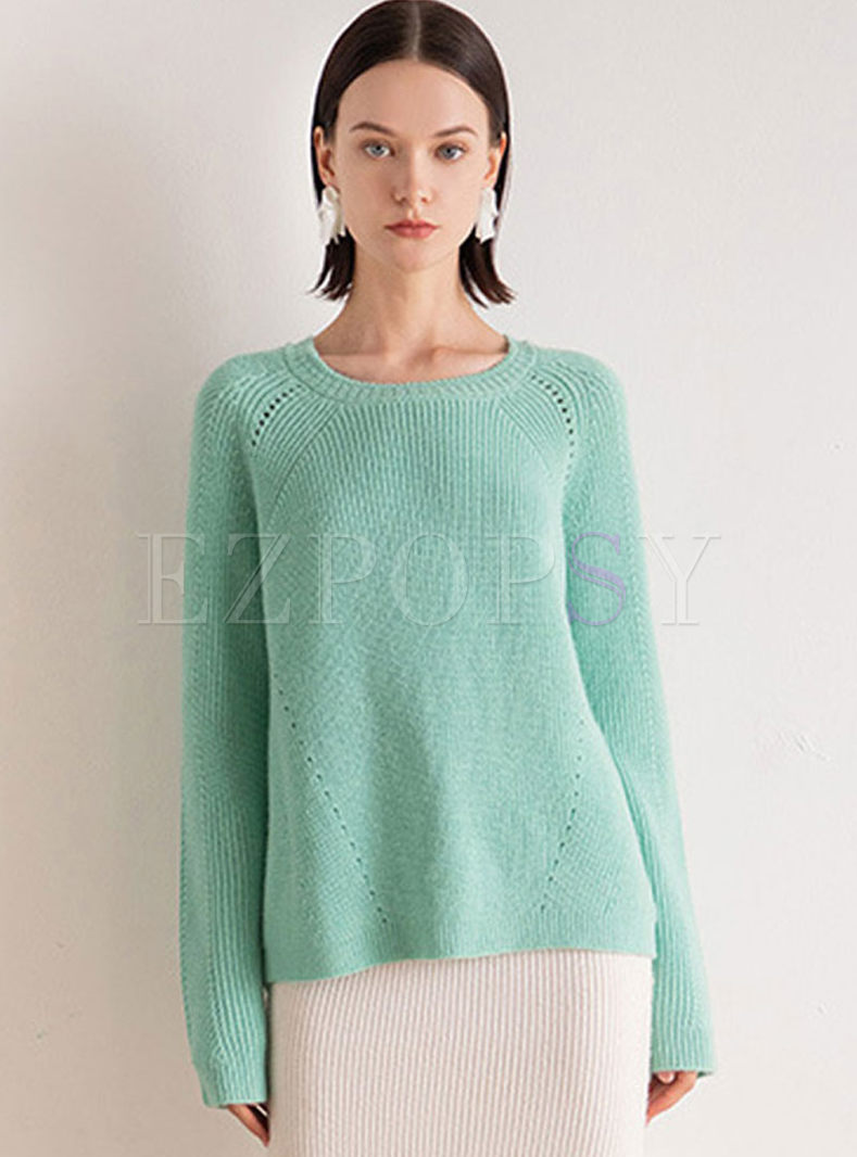 O-neck Long Sleeve Pullover Sweater