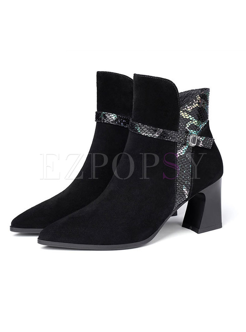 Black Pointed Head Chunky Heel Short Boots
