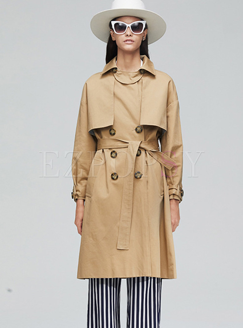 Lapel Double-breasted Falbala High Waisted Trench Coat