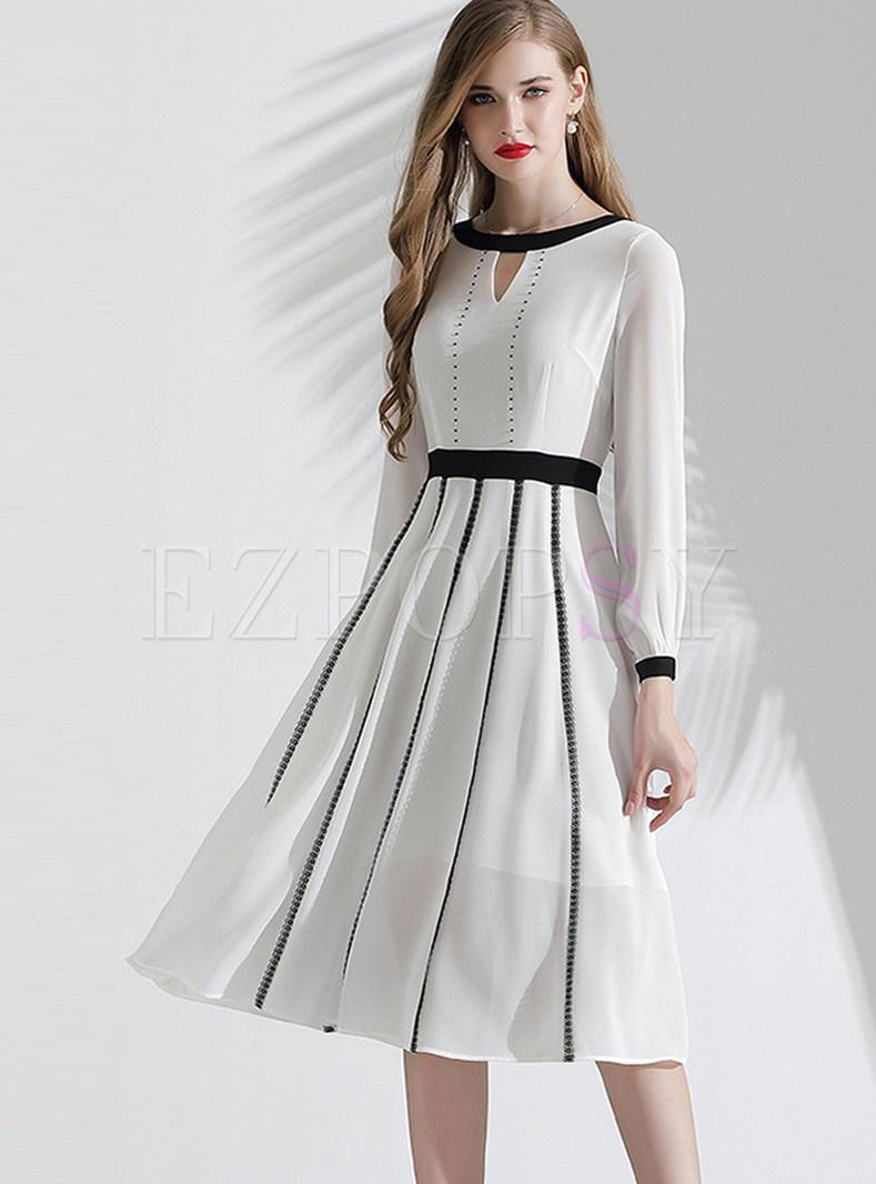 Beading Patchwork Lace Skater Dress