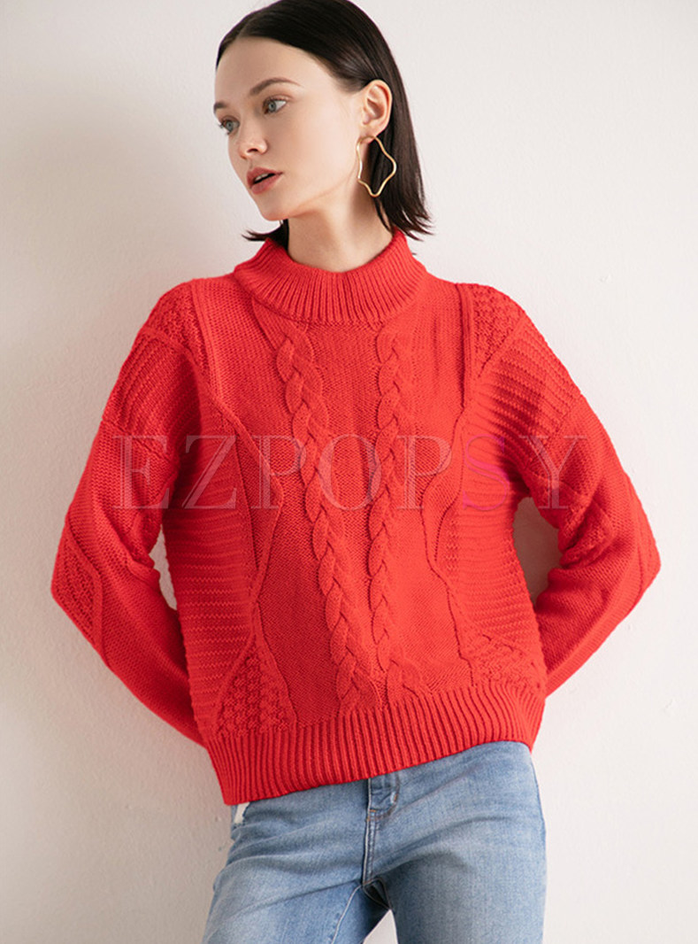 Brief Stand Collar Pullover Sweater