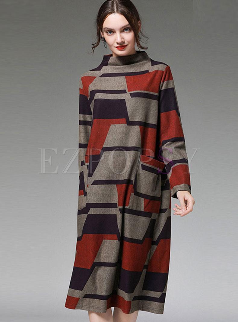 Plus Size Geometric Print Shift Dress