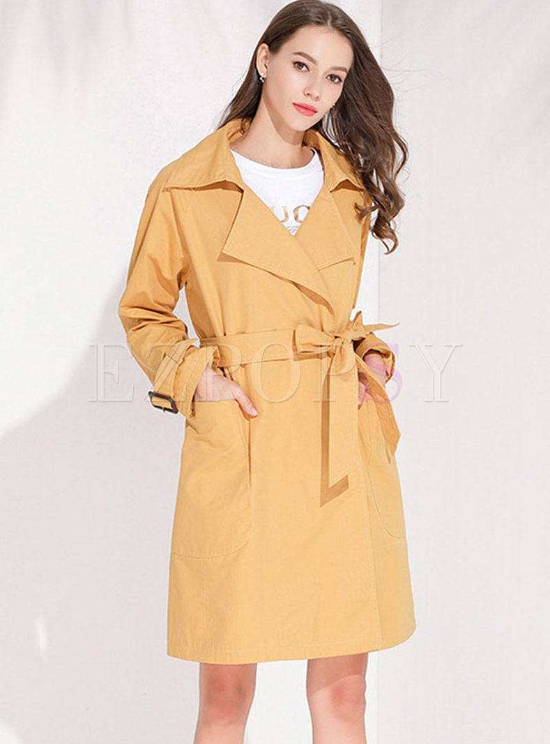 Turn Down Collar Tie Waist Trench Coat