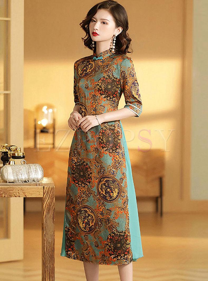 Mandarin Collar Half Sleeve Cheongsam Dress