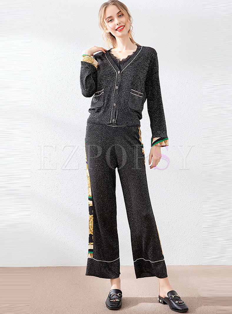 Casual Patchwork Knit Two Piece Pants Suits