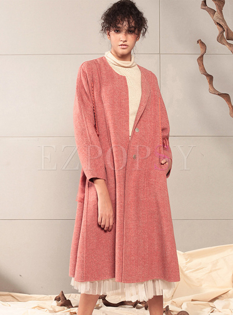 Solid Color O-neck Long Cashmere Overcoat