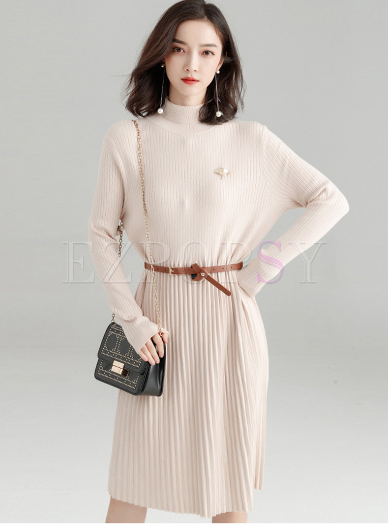 Pleated Patchwork A Line Sweater Dress