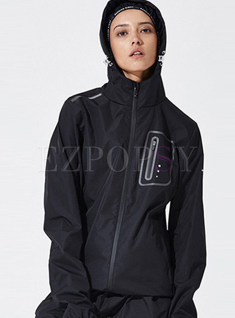 Casual Patchwork Hooded Sport Jacket