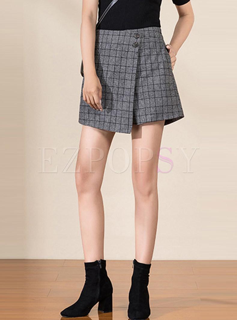 High Waisted Plaid Irregular Shorts