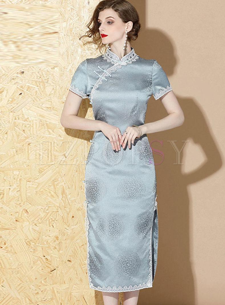 Mandarin Collar Short Sleeve Slit Cheongsam