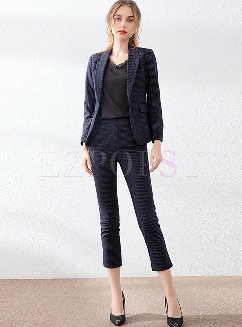 Work Notched Slim Blazer Pants Suit
