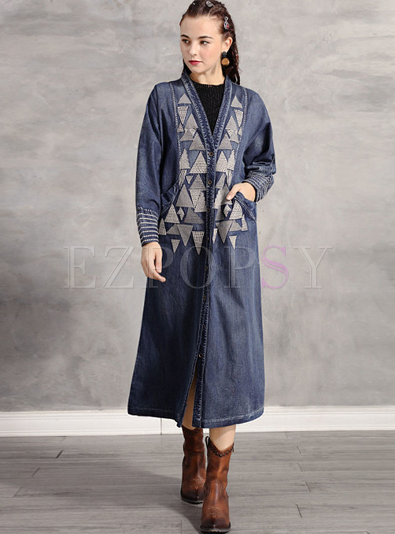 Retro V-neck Print Long Denim Coat