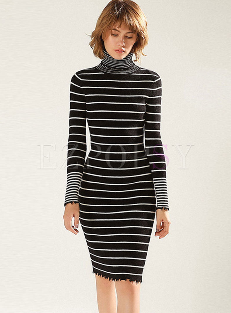 Turtleneck Stripe Slim Sweater Dress