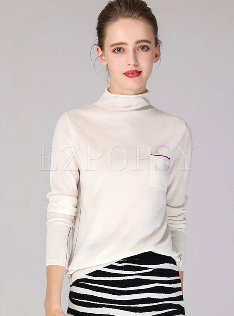 High Collar Loose Thick Wool Sweater