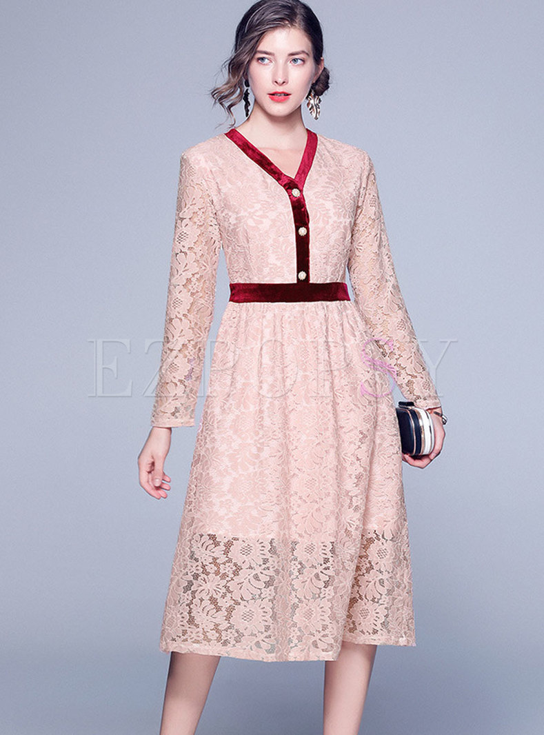 Lace Openwork Color-blocked A Line Dress