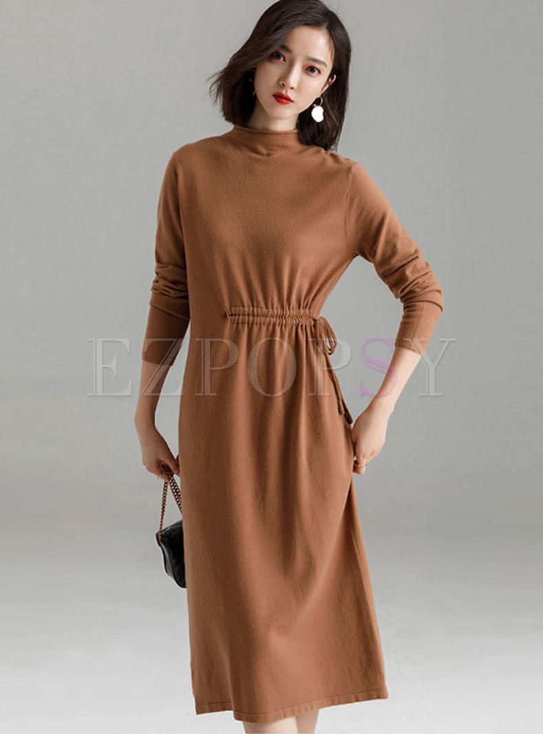 Solid Color Half Turtleneck Waist Sweater Dress