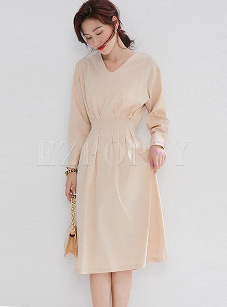 Solid Color V-neck Midi Knitted Dress