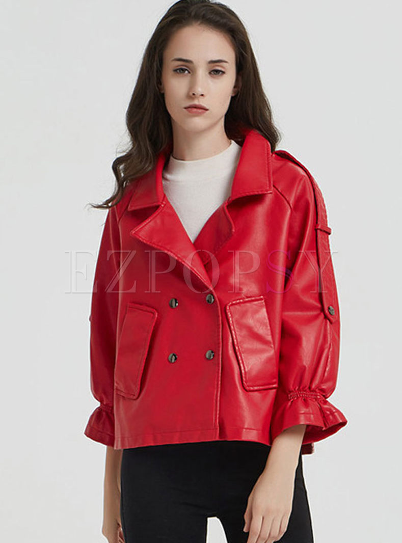 Red Lapel Flare Sleeve Biker Jacket